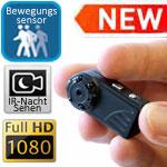 Minicam HD 1080P Ambertek QQ6 mit Nachtzusatzlicht und Bewegungssensor